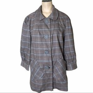 Coffeeshop Plaid Overcoat With Oversize Buttons